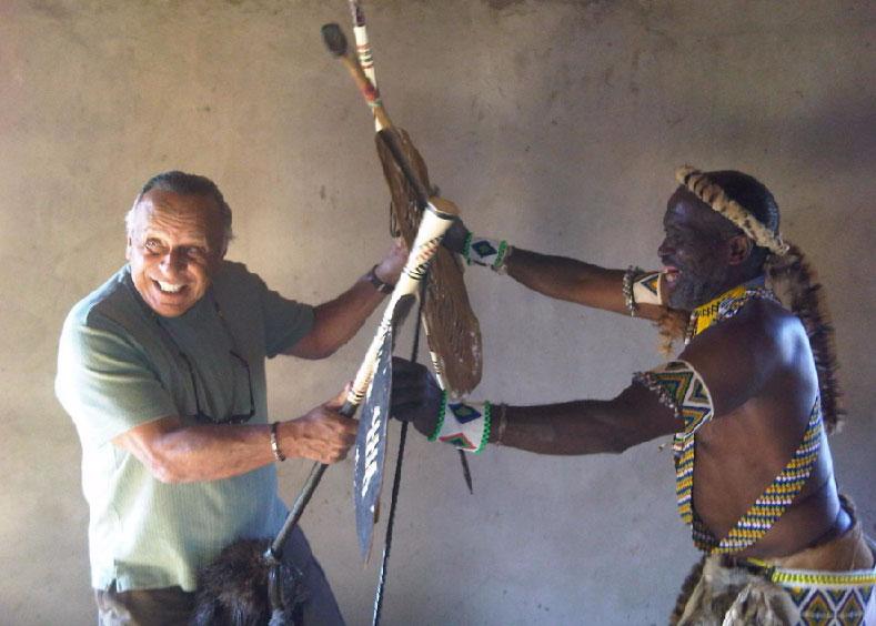 Eco Safari traveler and Inyanga m edicine man