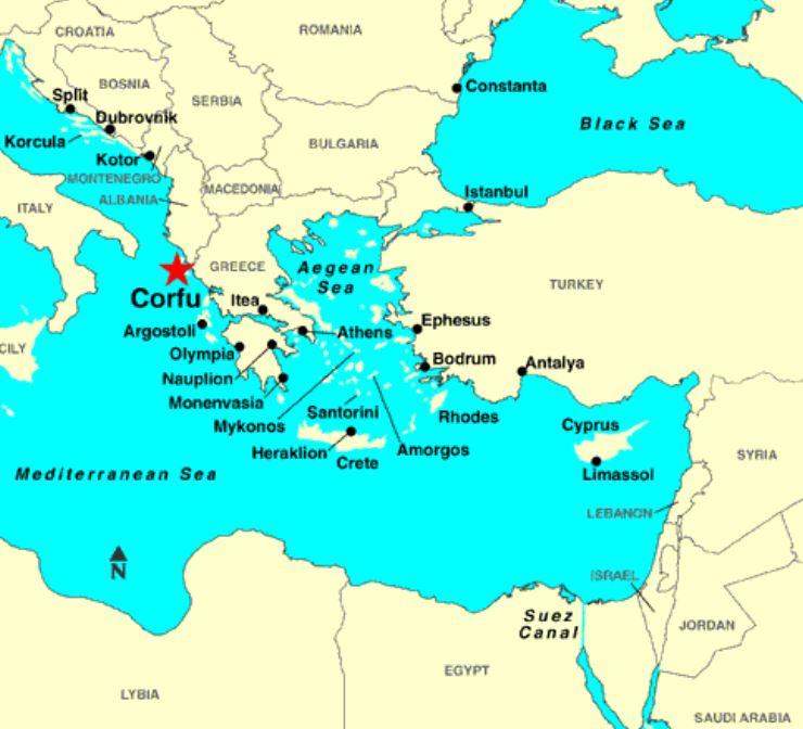 Corfu location map partial Mediterranean Sea - The Lawrence ...