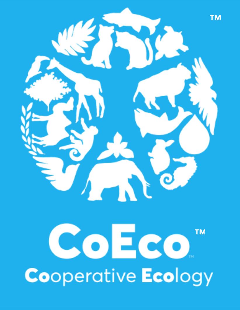 CoEco Logo - White on Blue - correct w tm